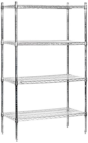 Salsbury Industries Stationary Wire Shelving Unit, 36-Inch Wide by 74-Inch High by 18-Inch Deep, Chrome