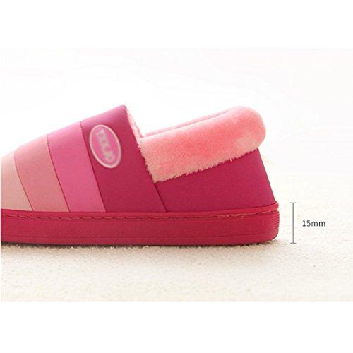 Hausschuhe Einfache und Verdickte Baumwollhausschuhe Zuhause Winter Innen PU Rutschfeste Warme Schuhe Pink