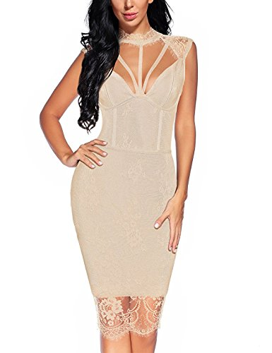 houstil Women's Deep V Neck Lace Mesh Backless Bandage Bodycon Dress Party (XS, Beige)