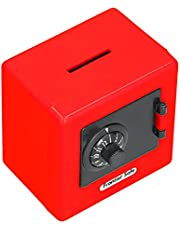 Safe Coin Cash Banks, Coded Lock Money Storage Case Large Space for Daily Use(red)