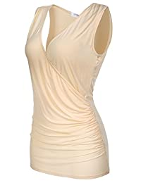 Meaneor Women's Sexy Deep V Neck Ruched Side Stretch Slim Sleeveless Tank Top