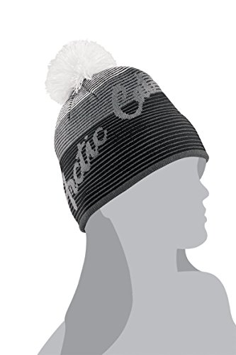 (Arctic Cat Women's Stripe Beanie / Hat with Pom - Gray)