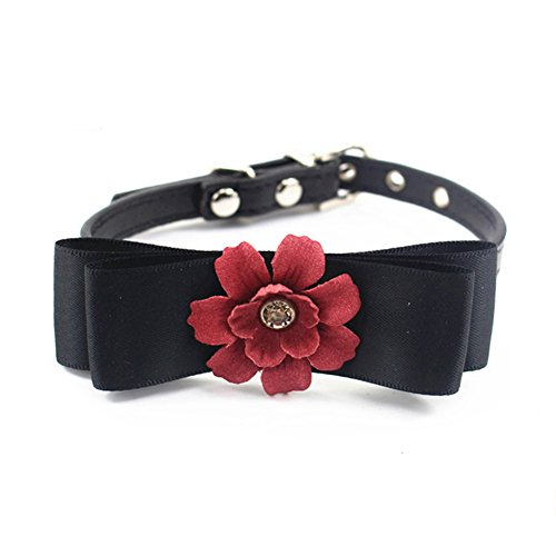 PetFavorites Bowtie Dog Collar Rhinestone Flower Cat Collar Crystal Nappa Leather Kitten Collar for Small Dogs Girl, Teacup Chihuahua Yorkie Clothes Costume Outfits Accessories (Burgundy, Size S) ()