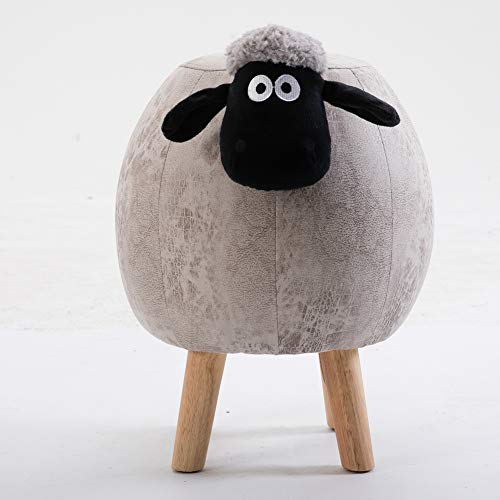 Storage Faux Leather Sheep Ottoman Footrest Stool Round, Lift top Padded seat Microsuede Fabric Footstool Small Toy Box Cube Seat Chest-M 36x45cm(14x18inch)