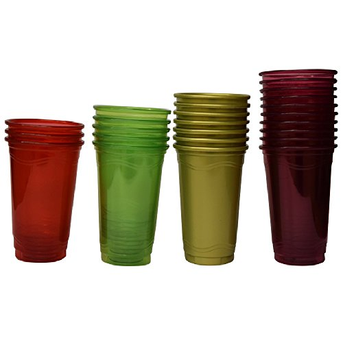 Green Direct 16 oz Plastic Neon Cups / 4 Colors Neon Party Cups (Pack of 60)