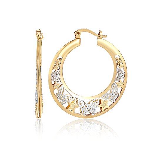 Orangelove 18K Gold Plated Women's Two-Tone Butterfly Hoop Earrings Wedding Enagement Party Birthday Gift (Butterfly&Stars Hoop Earrings 22mm) 18k Two Tone Earrings