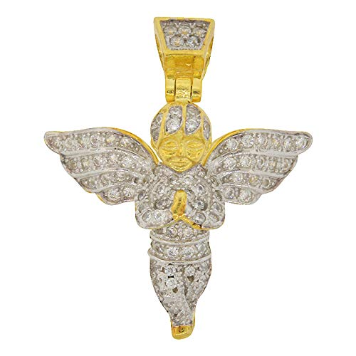 Men's Two Tone Gold-and-Rhodium-Plated Sterling Silver Round Cut Cubic Zirconia Iced Out Praying Angel Pendant, 1.00