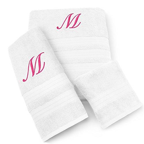 (KAUFMAN - MILAN 3 PIECE WHITE TOWEL SET WITH FUCHSIA MONOGRAM (J))