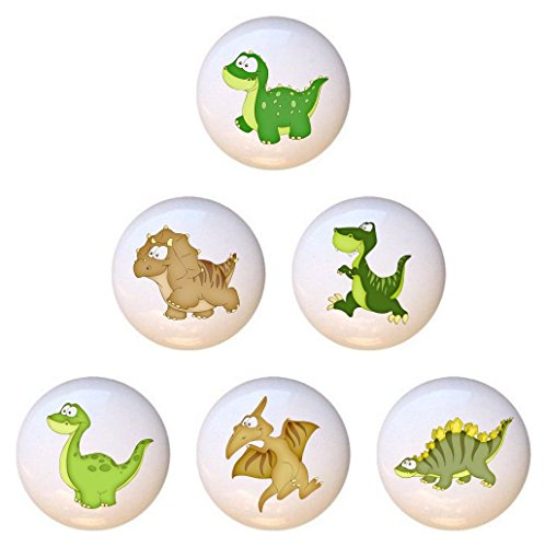 (SET OF 6 KNOBS - Cute Dinosaurs - DECORATIVE Glossy CERAMIC Cupboard Cabinet PULLS Dresser Drawer KNOBS)
