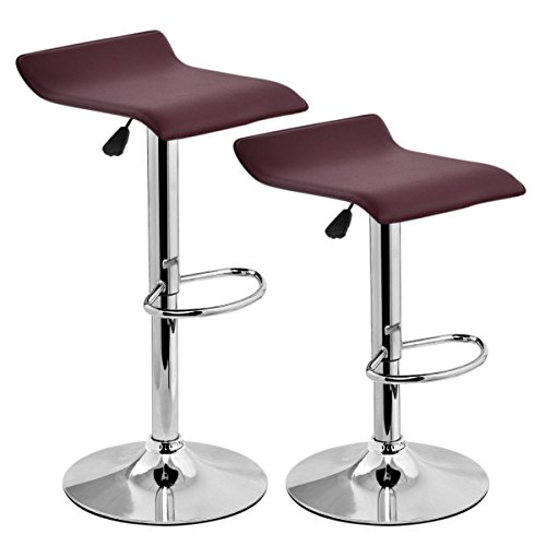 Costway Modern PU Leather Barstools Swivel Seat Air Lift Adjustable Height Counter Swivel Bar Stools Counter Chair Contemporary Chrome Furniture Multi-color Set of 2 (Brown)