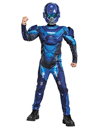 Blue Spartan Classic Muscle Halo Microsoft Costume,