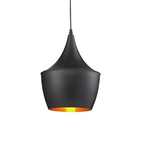Unimall Iluminación Retro Pendiente Lámpara Industrial de La Vendimia Lámpara de Techo Colgante de Diseño Tradicional (Color Negro Mate y Dorado en el ...
