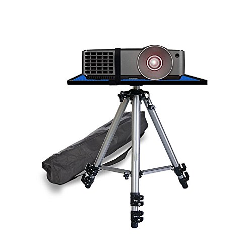 Table Stand Projector - Video Projector Stand Tripod Stand Mount Adjustable Height with Swivel/Rotating Pallet Plate Tray for iPad Tablets Camera Laptop And Carrying Bag