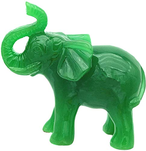 Betterdecor Feng Shui Jade Green Color Trunk Up Lucky Elephant Statue Figurine Home Office Decor for Good Fortune (Jade Large Statue)