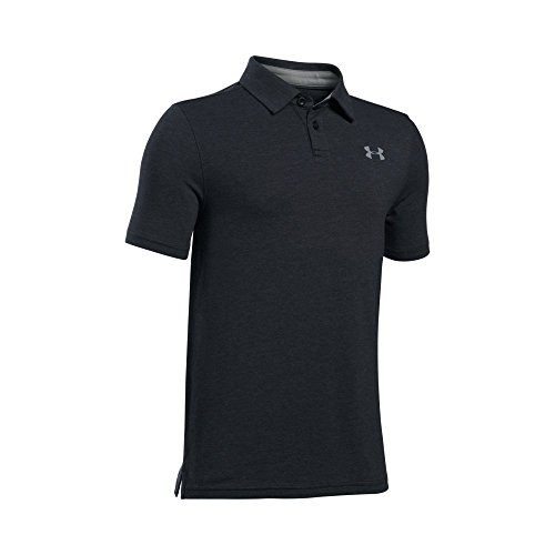 Under Armour Boys' Charged Cotton Heather Polo,Black (001)/Steel, Youth (Under Armour Cotton Polo Shirt)