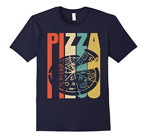 Mens Classic Vintage Retro Pizza. Funny Tshirt Gift Lover Pizza Large Navy