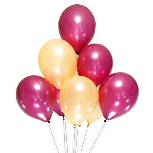AZOWA Burgundy and Champagne Color Latex Balloons 12 inch Party Decorations Pack of 100 Balloons Great for Birthday Party Baby Shower Wedding Celebrate Decorations -