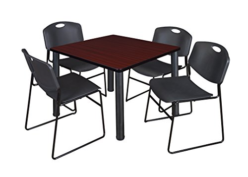 "Kee 36"" Square Breakroom Table- Mahogany/ Black & 4 Zeng Stack Chairs- Black"