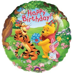 Pooh Tigger Piglet Happy Birthday Balloon Delivered Inflated In A Box With Free Delivery