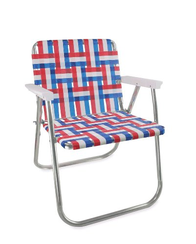 Lawn Chair USA Aluminum Webbed Chair (Picnic Chair, Old Glory with White - Aluminum Arm Chairs