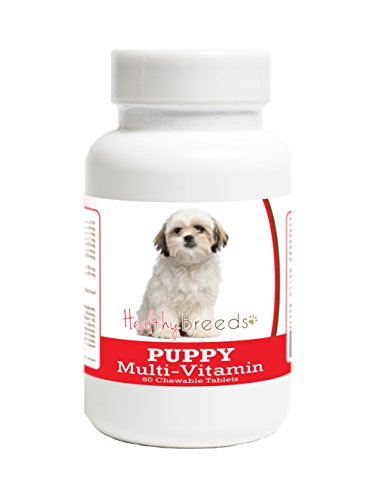 Healthy Breeds Puppy Multi-Vitamin Chewable Tables for Shih Tzu - Over 100 Breeds - Veterinarian Formulated Daily Dietary Supplement - Liver Flavored Treats - 60 Chews ()