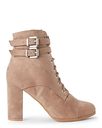 Fabric Lace Up Wedges (Madden Girl Women's Klaim Ankle Bootie, Taupe Fabric, 10 M US)