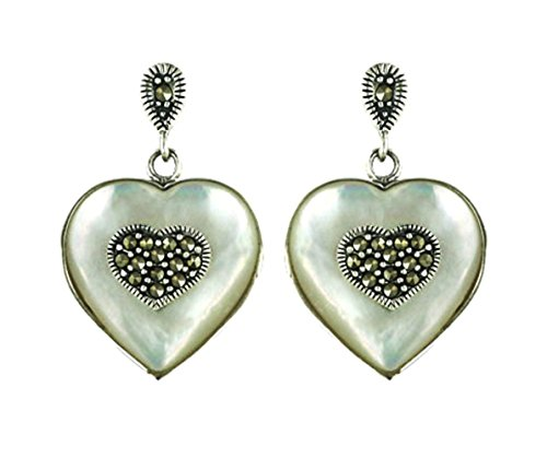 Sterling Silver Marcasite Heart Shape Mother of Pearl - Shape Heart Marcasite