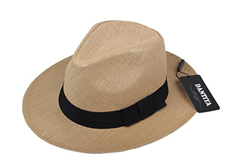 Straw Cowboy Hat Fedora (Dantiya Unisex Casual Fedora Straw Hat Cap With Belt)