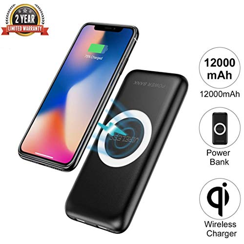 Wireless Power Bank Charger 12000mAh QI Wireless Portable Charger 2 in 1 External Battery Pack Compatible iPhone X iPhone 8/8 Plus Samsung Galaxy S8/S8+ Samsung Note 8/S7/S6/Note 5,etc. (Black)