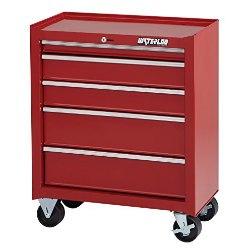 Waterloo Shop Series 5-Drawer Tool Cabinet, Red Finish, 26'' W - Designed, Engineered and Assembled in the USA by Waterloo