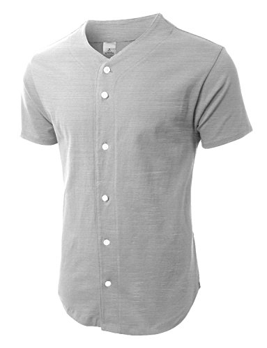 Hat and Beyond Mens Baseball Jersey Button Down T-Shirts Plain Short Sleeve Fitted S-3xl (Large, Light (Gray Striped Team Colors)
