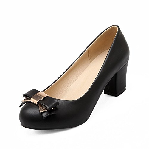 BalaMasa da donna in pelle kitten-heels solido antiscivolo superiore pumps-shoes, Nero (Black), 35