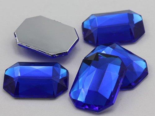 KraftGenius 25x18mm Flat Back Octagon Acrylic Jewels Pro Grade - 15 Pieces (Sapphire)