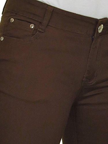 Taille et Panneau Stretch avec 36 Jeans Marron icecoolfashion Manchette Poche Brillance de 44 Basse Capri IpqSUwY