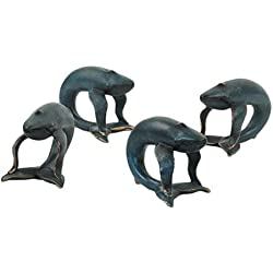 Koyal Wholesale Whale Animal Napkin Rings, Set of 4, Unique Nautical Napkin Rings for Wedding, Thanksgiving, Christmas, Easter, Elegant Modern Gift Ideas (Whale, Navy Blue)