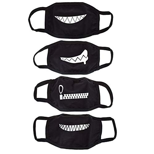 NUOMI 4 Pack Teeth Pattern Mouth Masks Unisex Cotton Blend Black Anti-dust Mask -
