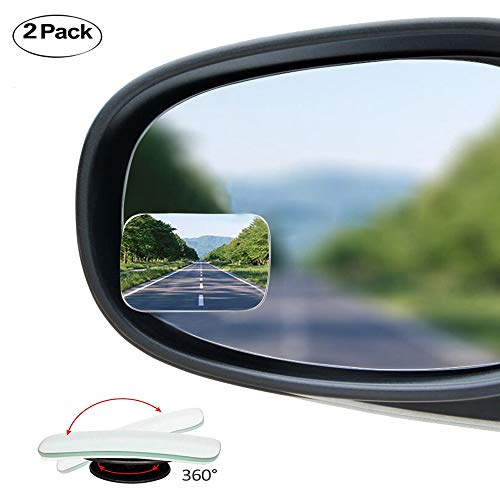 Ampper Square Blind Spot Mirror, Newest Upgrade HD Glass Frameless Convex Wide Angle Rear View Mirror For All Universal Vehicles Car Suv (Pack Of 2)