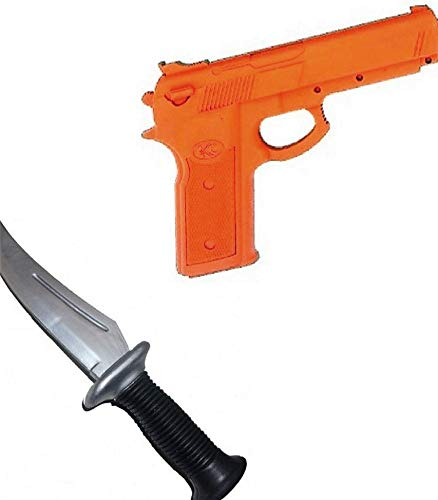 R.A.M Reliable Rubber Training Practice Pistol Gun + Knife Set Police Self Defense Martial Arts