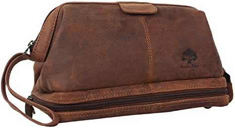 Handmade Buffalo Genuine Leather Toiletry Bag Dopp Kit Shaving and Grooming Kit for Travel ~ Gift for Men Women ~ Hanging Zippered Makeup Bathroom Cosmetic Pouch Case by Rustic Town ( Brown )