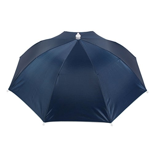 Outdoor Camping Sun Shade Deep Blue Polyester Umbrella Hat