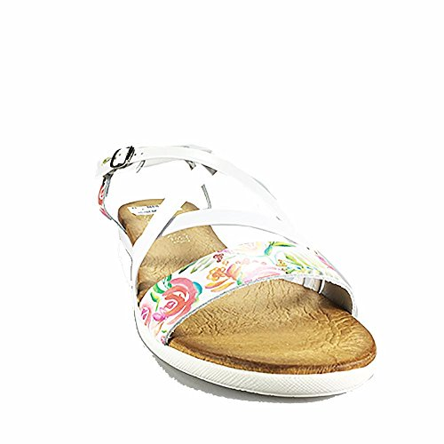 Sandalia piel plana blanca. Flores. Talla 40