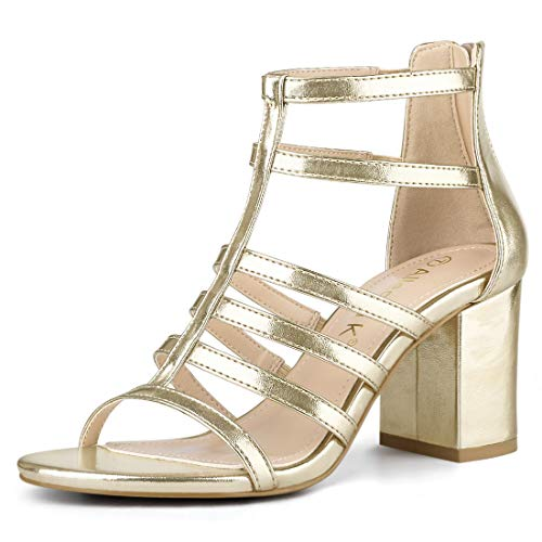 Allegra K Women's Strappy Chunky Heel Gladiator Gold Sandals - 9 M US