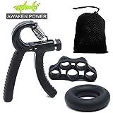 SHARKOOO Hand Grip Strengthener Workout Kit (3 Pack) Forearm Grip Adjustable Forearm Hand Gripper