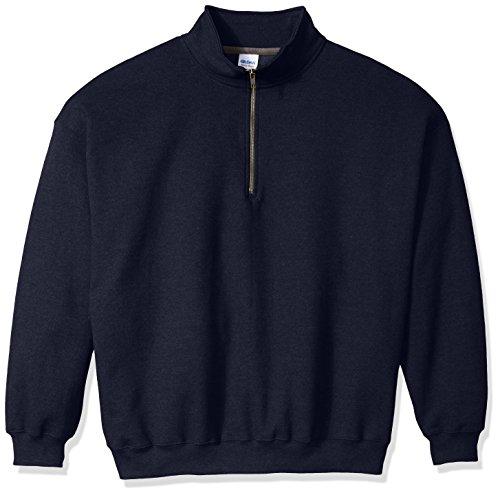 Gildan Men's Fleece Quarter-Zip Cadet Collar Sweatshirt Extended Sizes, Navy, XX-Large