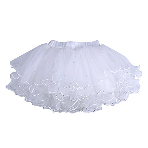 ICObuty Baby Girls Kids Ruffle Skirt Tutus Skirt Pettiskirt Multi-Layer Princess Ballet Party Dance Dress (130-7T, White) ()