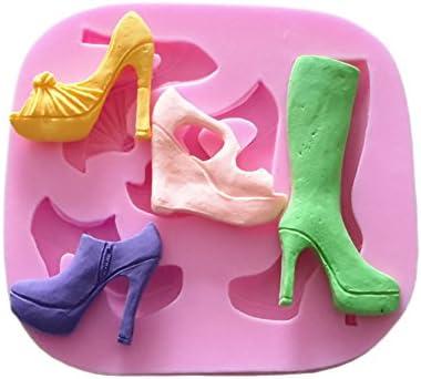 Yunko 5 agujeros moda botas zapatos de tacón alto decoración de ...