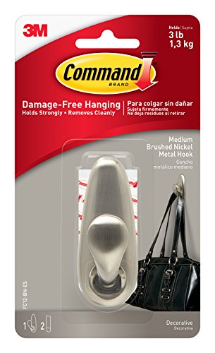 Command Forever Classic Metal Hook, Medium, Brushed Nickel, 1-Hook (FC12-BN-ES)