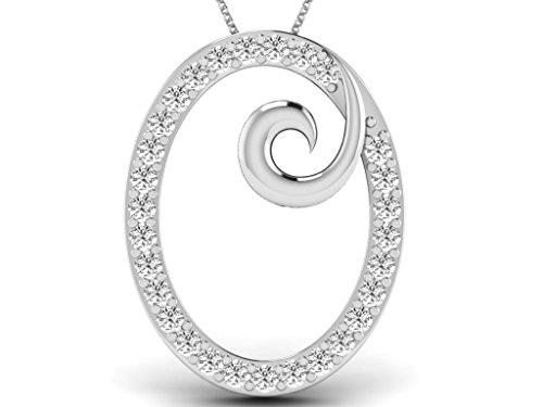 Or Blanc 14 ct Pendentifs Diamant en forme de ovale, 0.014 ct Diamant, GH-SI, 0.48 grammes.