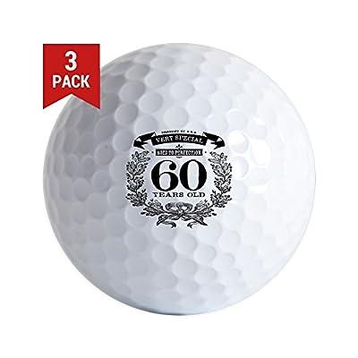 CafePress 60Th Birthday Vintage Design Golf Ball Golf Balls (3-Pack), Unique Printed Golf Balls