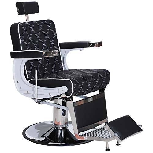 BarberPub Heavy Duty Metal Vintage Barber Chair All Purpose Hydraulic Recline Salon Beauty Spa Styling Equipment 3825 (Black) from BarberPub